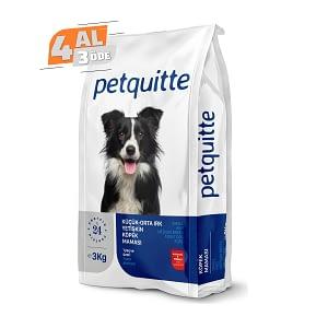 Petquitte Yetişkin Küçük ve Orta Irk Köpek Maması 3 Kg (4 AL 3 ÖDE)